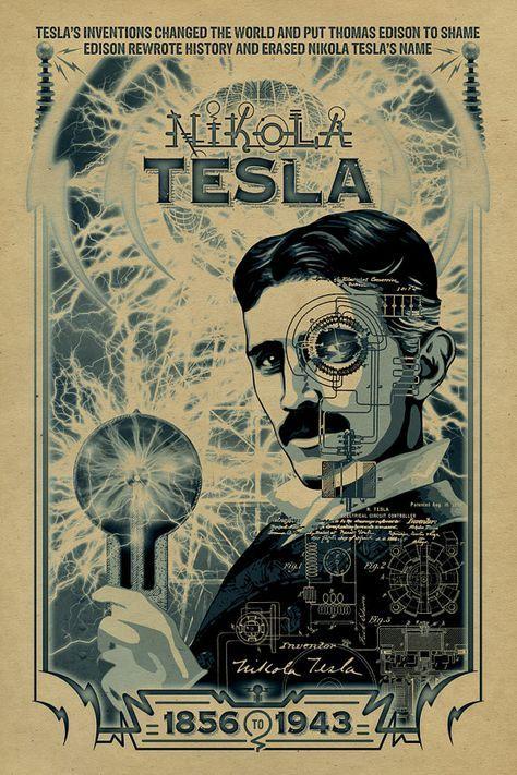 Nikola Tesla Poster 12x18 Inventor Thomas Por Unclegertrudes Nikola Tesla Historical Art Tesla Patents