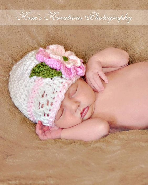 Newborn Pink Bouquet Hat by 3KnotHeads on Etsy,