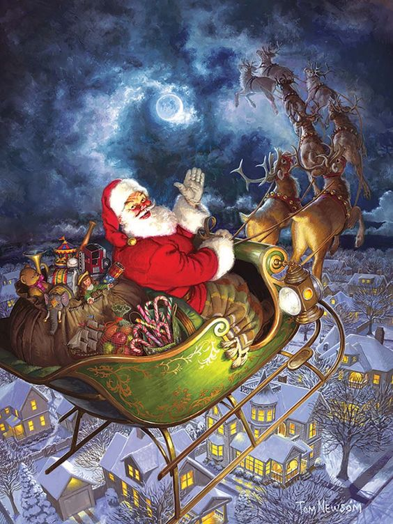 Flying high in the sky with a sleigh full of toys, Santa wishes the town below a ho ho ho and a Merry Christmas to All as he heads off to the next town on this moonlit night. An Easy Handling 275 large pieces puzzle.