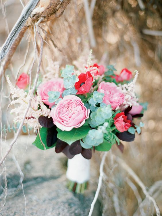 Berry colored bridal bouquet | Ksenia Milushkina Photography | see more on: http://burnettsboards.com/2014/08/romantic-berry-wedding-editorial-forested-beach/: