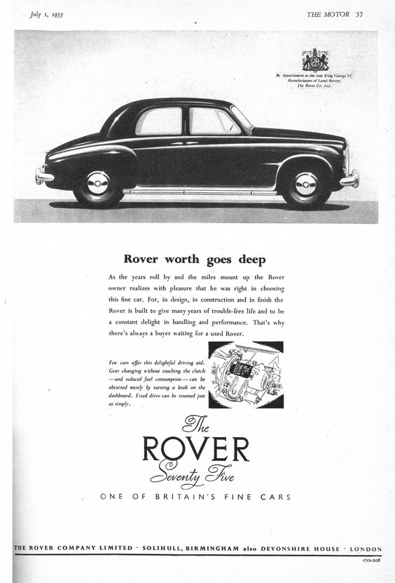 Rover 75 Motor Car Autocar Advert 1953