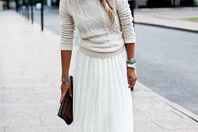 long skirt and cable knit sweater