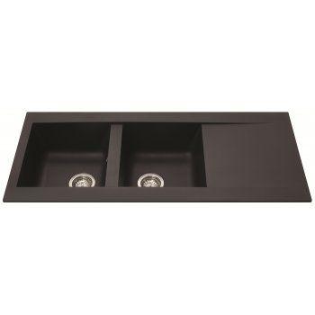 CDA Stone/Quartz Sink Double Bowl Reversible Black