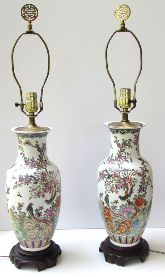 Pair Chinoiserie Porcelain Lamps Pagoda Shades Chinese