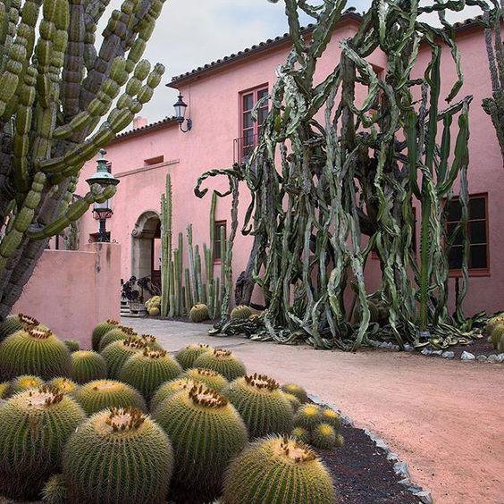 Pink House with Cacti at Lotusland in Santa Barbara