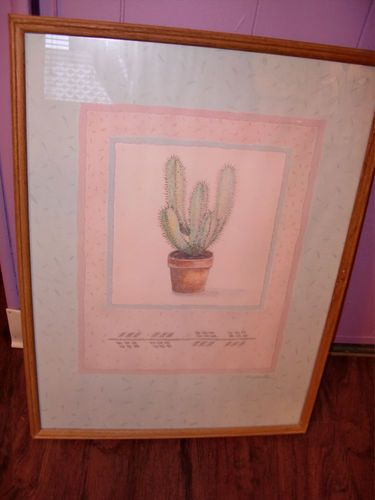 Southwestern Cactus Art Print Lithograph Signed By Cooper
