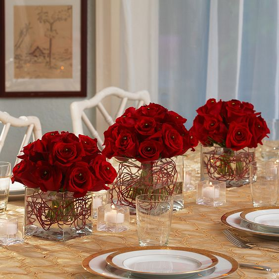 red white blue floral centerpiece | Piece Red Rose Centerpieces