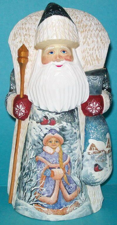 Purple blue russian hand painted santa claus w snowmaiden