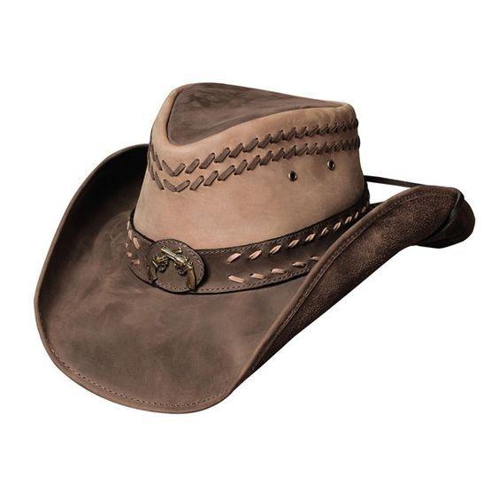 Genuine Cowhide Leather Western Cowboy Hat Dark Brown With Brown Hat Band