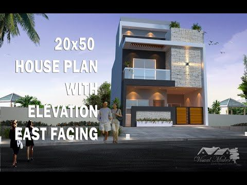 20x50 House Plan With Elevation East Facing 2 Story G 1 Visual Maker Youtube In 2020 House Plans Duplex House Design House Styles