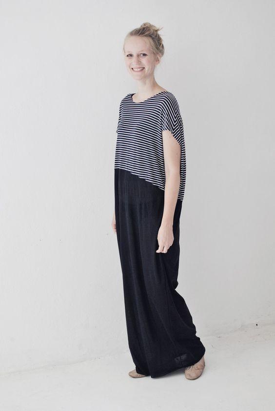 Maxikleid maritim, lang aus Jersey / comfy but elegant maxi dress, maritime, stripes by aempersand via DaWanda.com