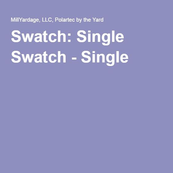 Swatch: Single Swatch - Single