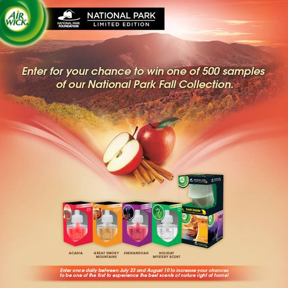 I just entered for a chance to win a sample of the Air Wick National Park Fall Collection fragrances! You can enter to win one too!