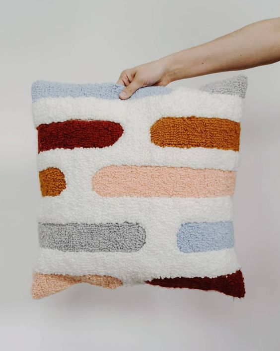 Punch Needle Throw Pillow