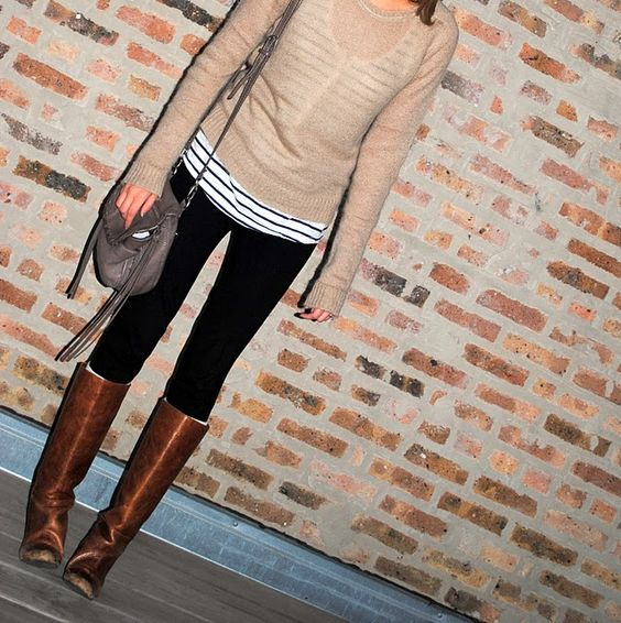 For fall - chestnut brown riding boots, black skinnies, nautical stripped shirt with a neutral sheer over-shirt
