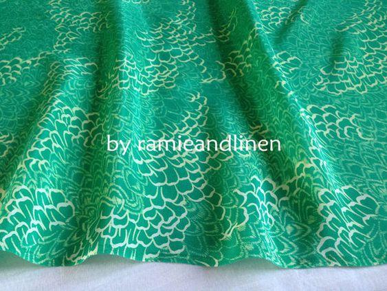 Seide Stoff Vintage-Stil grün floral print Seide von ramieandlinen