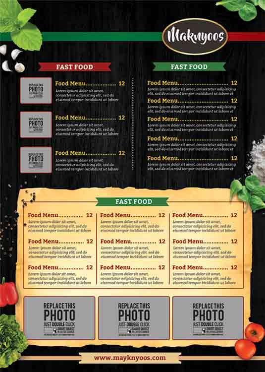 تحميل قالب بروشور جاهز Psd مجانا Brochure Psd Food Menu Cover Template