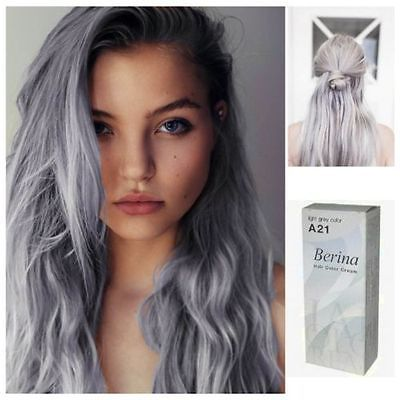 A2 1 BERINA HAIR CREAM SEMI-PERMANENT HAIR DYE COLOR LIGHT GRAY PUNK  - EXCLUSIVE DEAL! BUY NOW ONLY $7.49