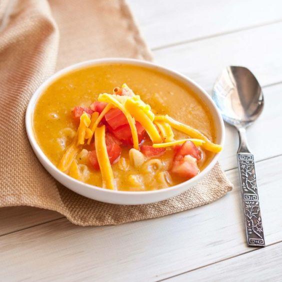 220 Calorie Mac 'N Cheese Soup by domesticfits #Mac_Cheese #Soup #domesticfits