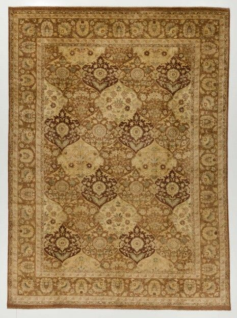 8.1x12.1' Mid Brown Peshawar Rug With Borders. Perfectly fitted orb patterns are structured beside each other in this interesting rug, which ...