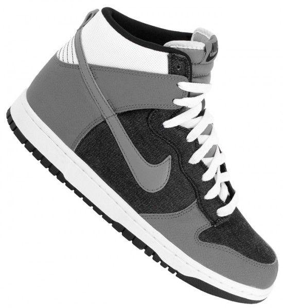 nike dunk high: black/cool-grey/white. Crisp and clean,