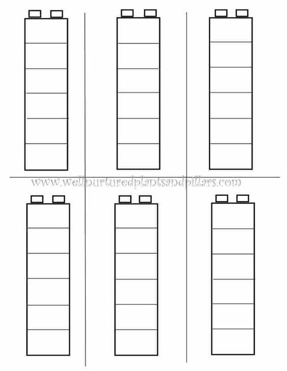 Beginnend seriëren: patroon van geseriëerde duploblokken overnemen - Duplo Pattern Template
