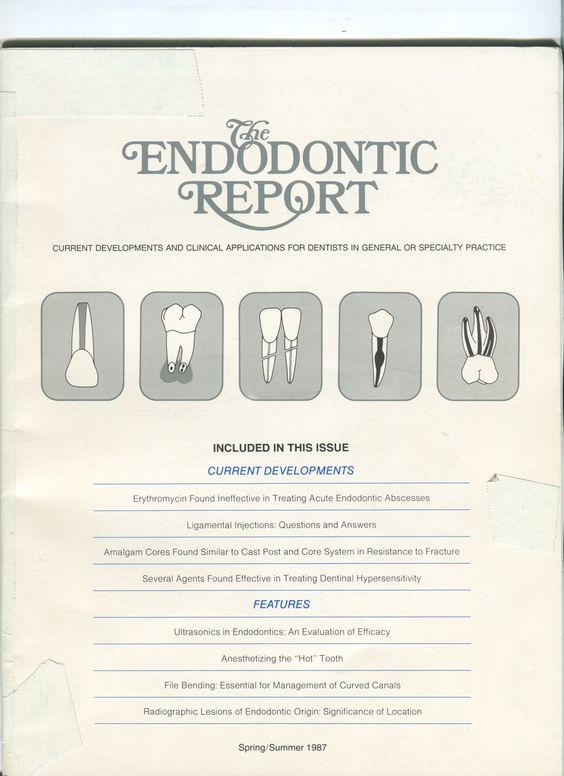 The Endodontic Report. Volume 2, No. 2  1987 Cover.