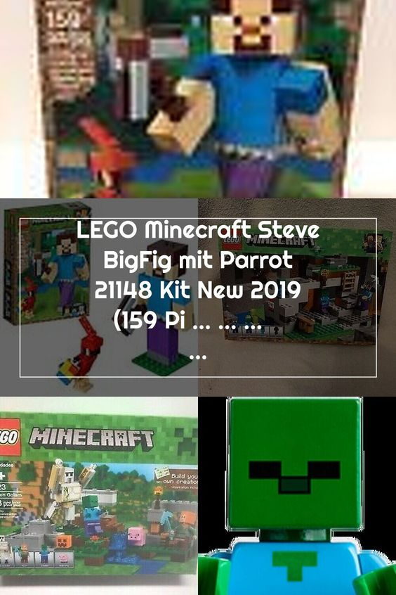 2019 LEGO MINECRAFT STEVE BIGFIG WITH PARROT # 21148 FACTORY SEALED !!