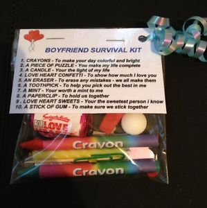 Boyfriend Survival Kit _ Valentines Gift For Him , Birthday Gift Anniversary | eBay. Wouldn't really call it a survival kit but it's a nice idea