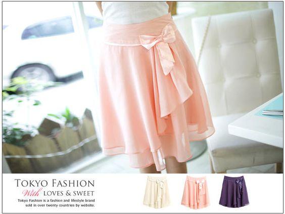 東京著衣  飾蝴蝶結雪紡搭層短裙