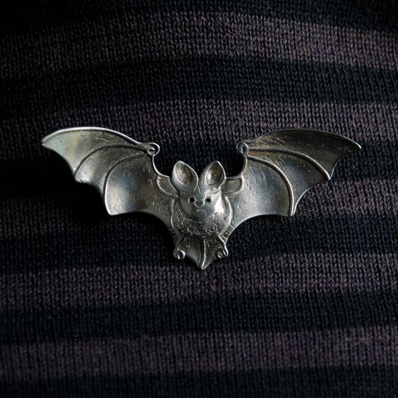 Bat Brooch  sterling silver  metal brooch by BobsWhiskers on Etsy, $85.00