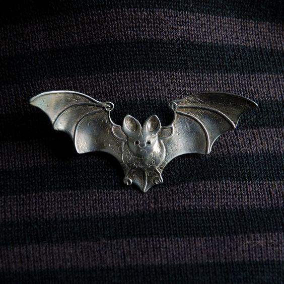 Bat Brooch  sterling silver  metal brooch by BobsWhiskers on Etsy, $85.00