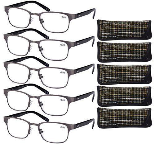 Eyecedar 5-Pack Metal Spring Hinges Reading Glasses Men Stainless Steel Frames Wayfarer Styles 5-Cloth Pouch Readers glasses 1.50 http://eyehealtht\u2026