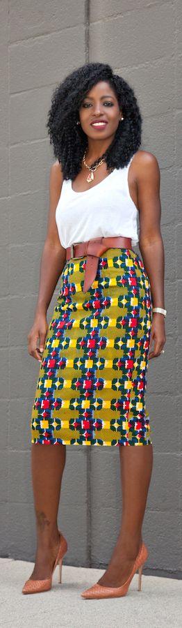 Tank Top + Ankara Print Pencil Skirt / Fashion By Style Pantry