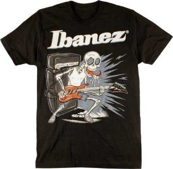 Ibanez Guitar T-shirt Licking Skull Design Tee