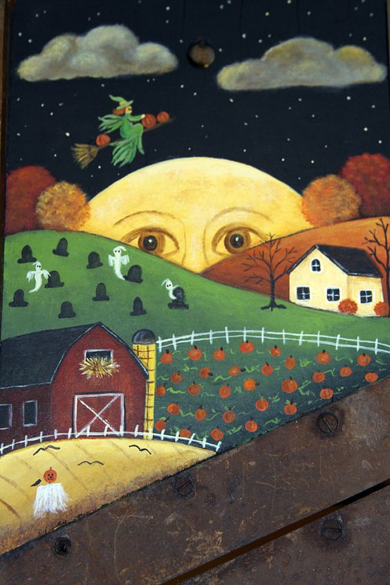 Halloween Folk Art Hand Painted Vintage Primitive Cabbage Shredder by Ravensbend, $38.00: