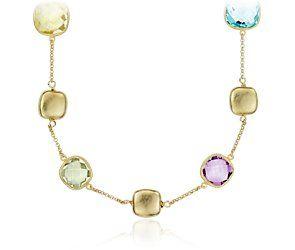 Amethyst, Green Quartz, Lemon Quartz, and Blue Topaz Necklace in Gold Vermeil #bluenile