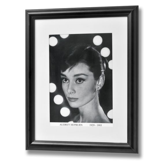 Classic black & white portrait print of Audrey Hepburn in black wooden…