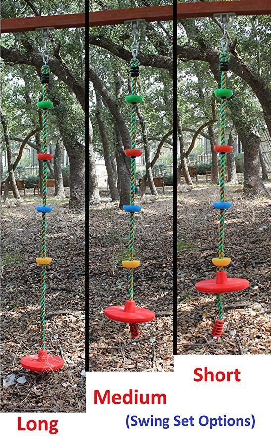 Amazon Com Jungle Gym Kingdom Tree Swing Multicolor Climbing Rope With Platforms Red Disc Swings Seat Outdoor P In 2020 Outdoor Playground Playground Set Tree Swing