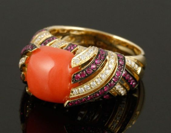 14K Gold, Coral, Ruby, and Diamond Ring : Lot 6009A