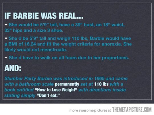 I don't want to be Barbie. And why I have all but banned them in my house.....