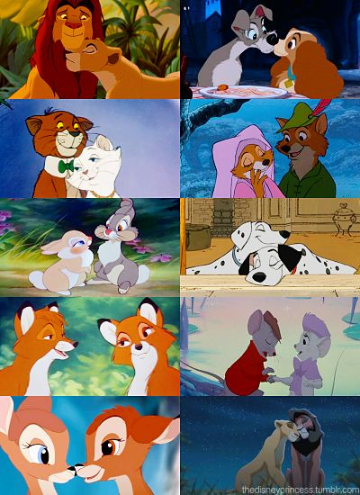 Cute Disney animal couples.  Kiara and Kovu are my faves. :)