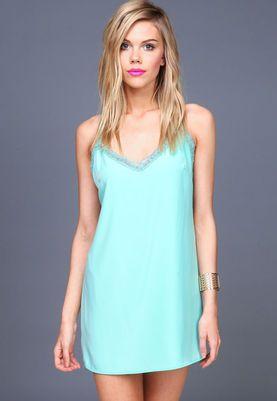 Aqua Lacy Straps Slip Dress,