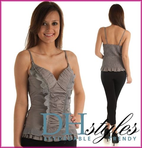 Solaris-1030-Gray Padded Ruffles & Sparkle Cami Tank Top