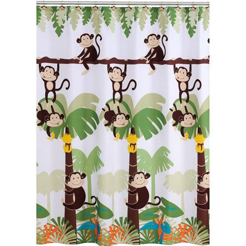 Mainstays Monkey Decorative Bath Collection - Shower Curtain | Kid ...