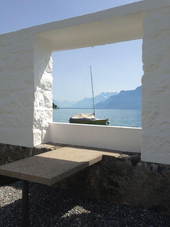 Uitzicht vanuit de tuin van villa le lac op het meer van gen ve la petite maison 1923 1924 for Architecture petite villa