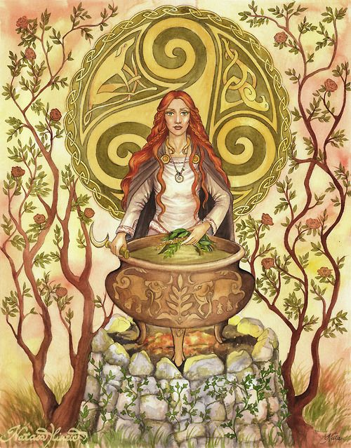 Cerridwen is the shapeshifting Celtic goddess of knowledge, transformation and rebirth. The Awen, cauldron of poetic inspiration, is her main symbol. In part of Welsh legend, she brews a potion to give to her son Morfran. She puts Gwion in charge of guarding the cauldron. Three drops of the brew fall upon his finger, blessing him with the knowledge held within. Cerridwen pursues him until, as a hen, she swallows him. Nine months later, she gives birth to Taliesen, the greatest of Welsh poets.: