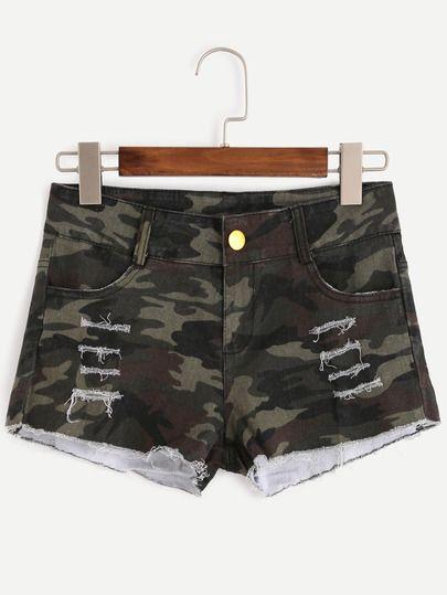Shorts rotos desflecado denim-Sheinside
