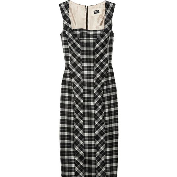 D Wool-blend plaid shift dress ($412) ❤ liked on Polyvore