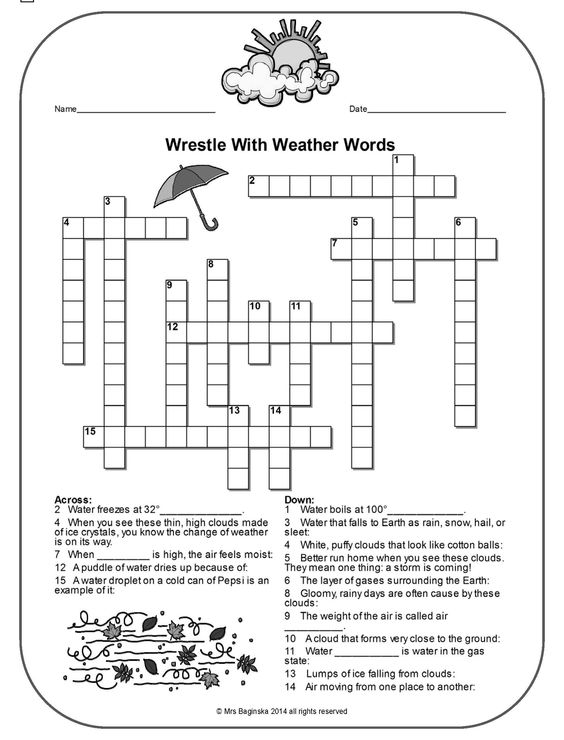 Free Weather Crossword With A Hidden Message  Perfect For